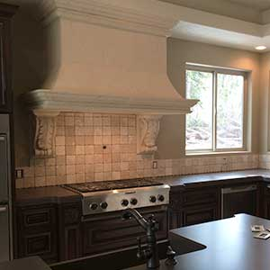 Stone kitchen hood and tile