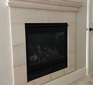 Travertine fireplace and mantle